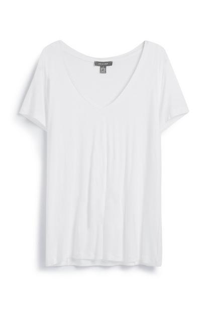 Camiseta blanca con cuello de pico Primark Mujer